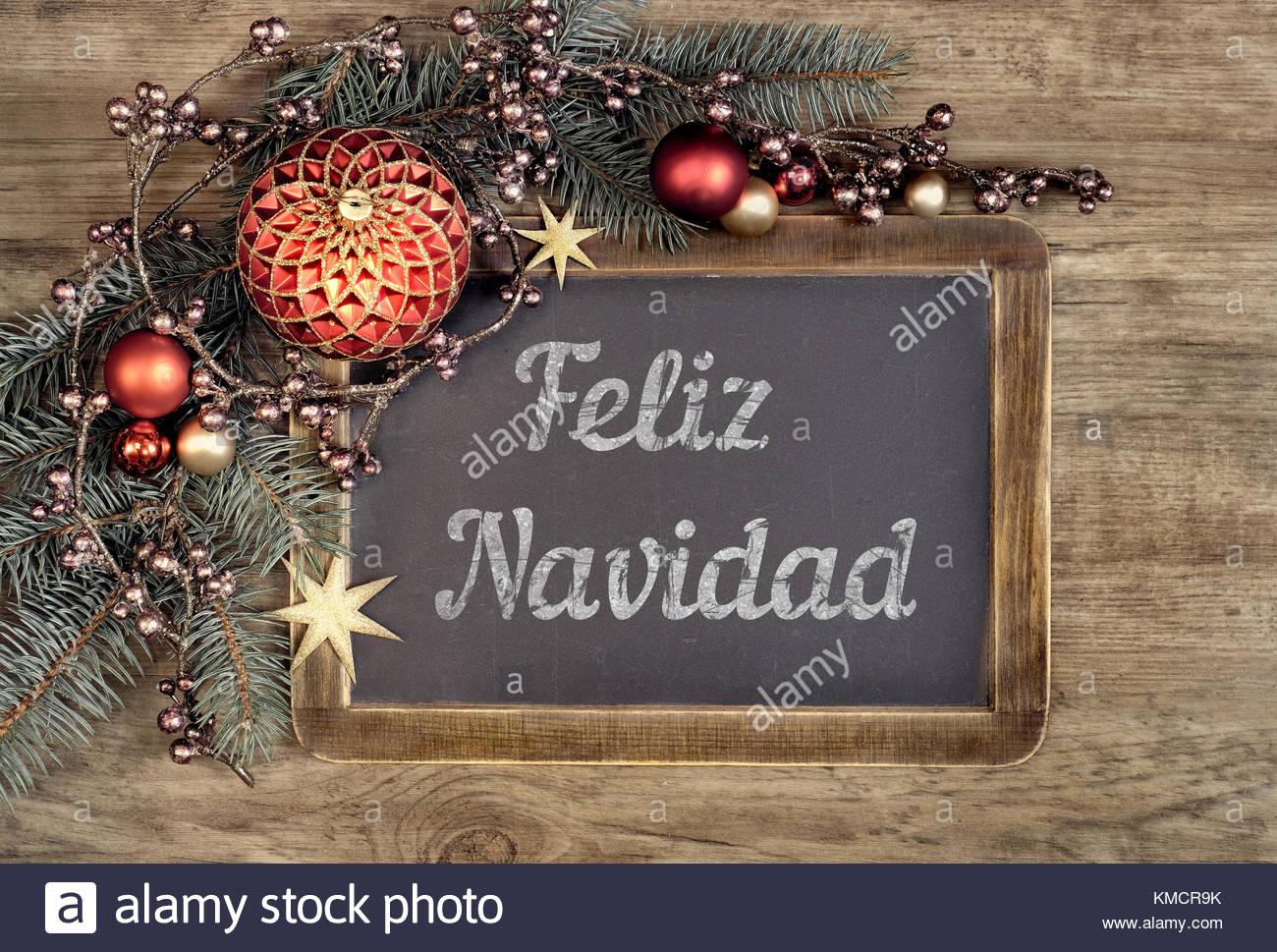 Buon Natale In Spagnolo.Lavagna Decorata Con Il Testo Feliz Navidad O Buon Natale In Spagnolo Su Legno Di Quercia Sullo Sfondo Kmcr9k Colegio De Salamanca